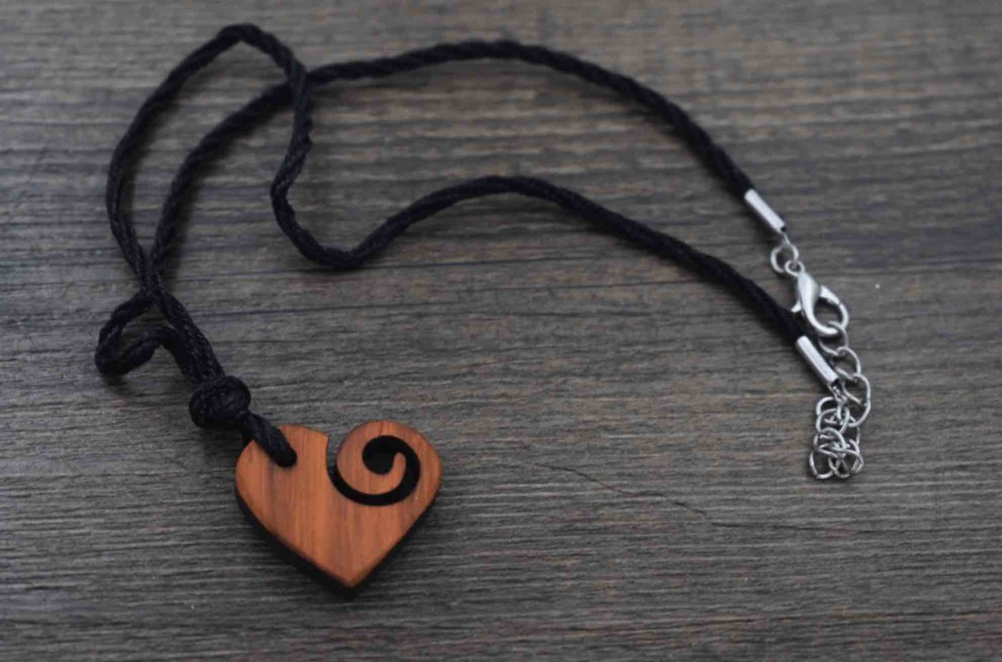 Spiral Heart Sustainable Wood Necklace