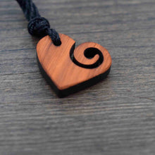 Load image into Gallery viewer, Spiral Heart Sustainable Wood Necklace