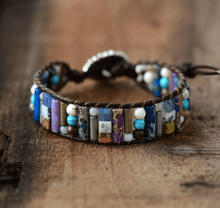 Load image into Gallery viewer, Handmade Agate Stone Cuff Bracelet