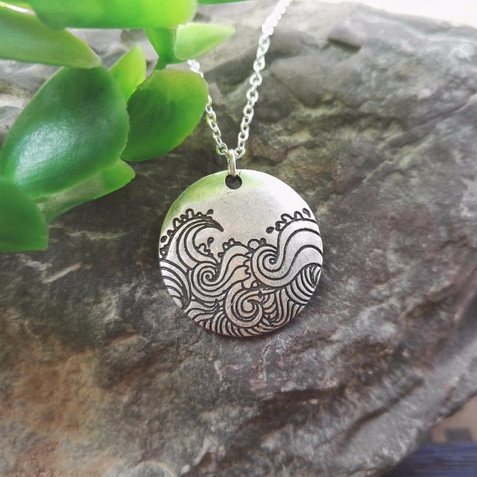 Spiral Wave Pendant Necklace