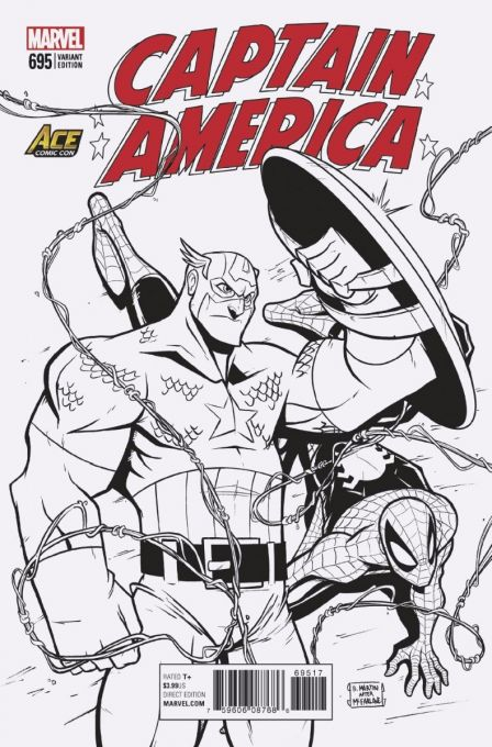 Captain America 695 ACE Comic Con Exclusive Variant B/W