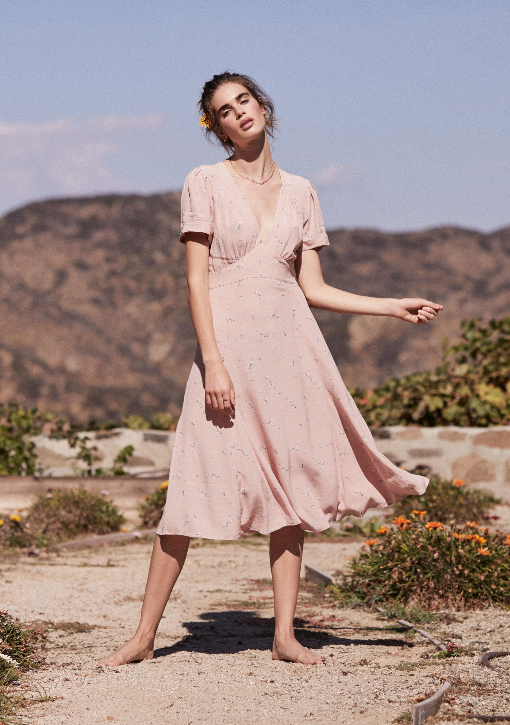 Clementine Bonne Midi Dress Blush