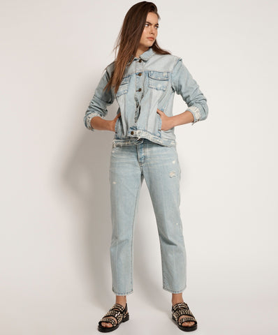 High Waist Flare Jean Washed Black