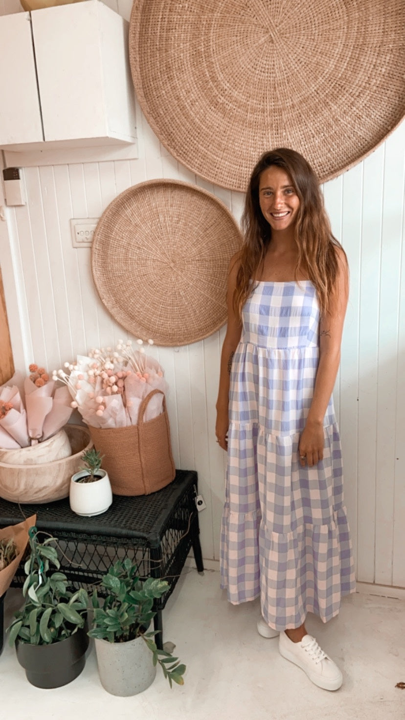 Meave Lilac Gingham Dress