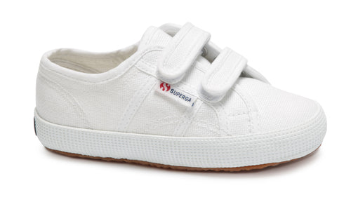 Kids Superga Double Velcro White