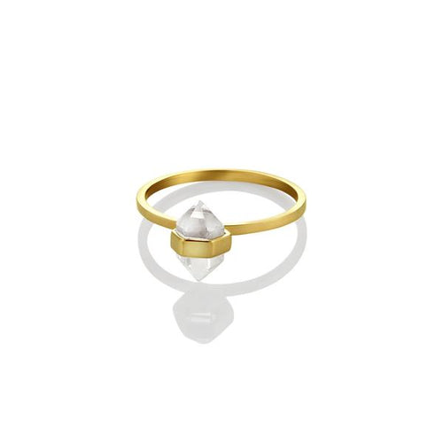 Calm Crystal Tiny Ring Brass