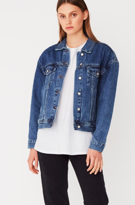 Boxy Denim Jacket Mid Blue