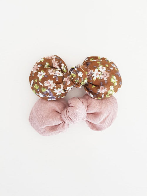 Charlotte Knot Bow Clip Chocolate Floral
