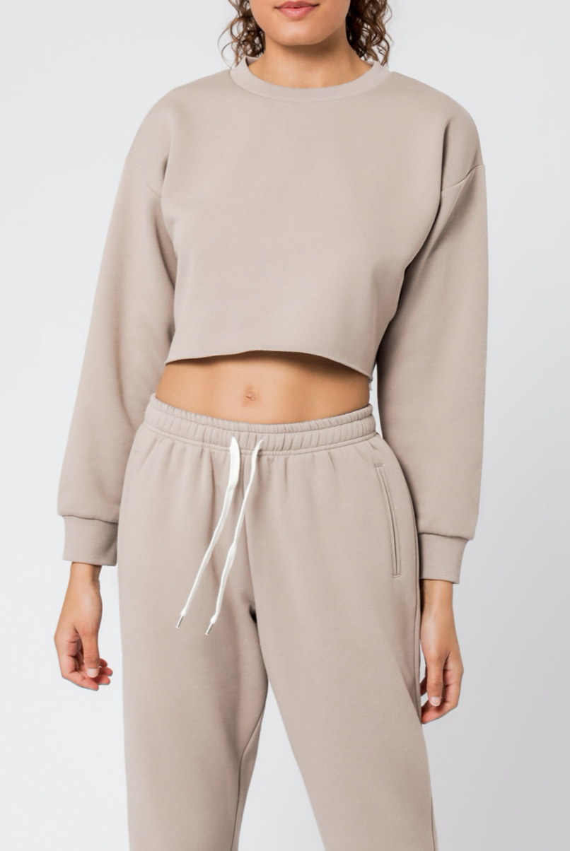 Carter Crop Sweat Taupe
