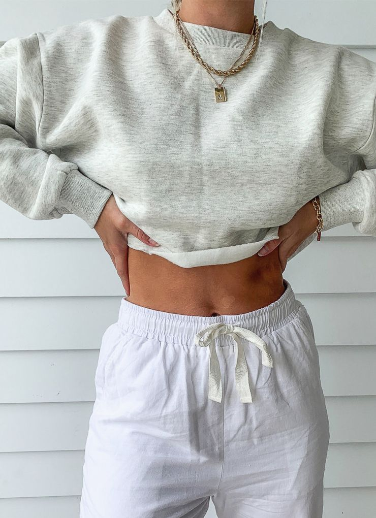 Carter Crop Sweat Snow Marle