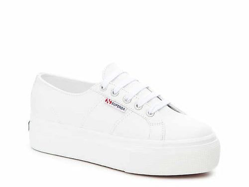 Superga White Leather Flatform