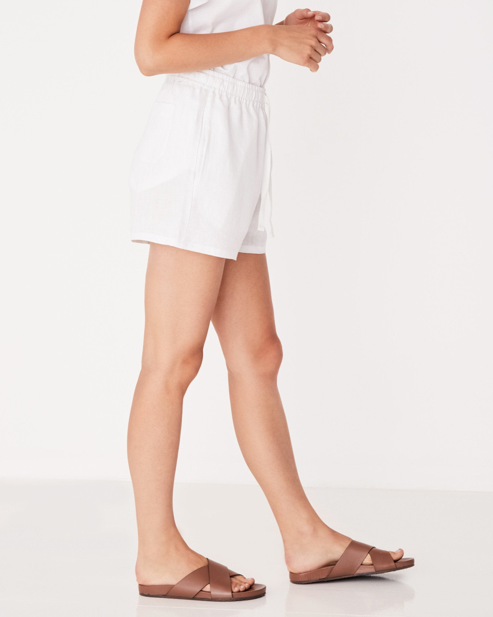 Basis Linen Short Birch Stripe