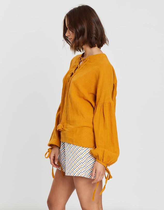Cheyenna Lace Up Blouse Tobacco