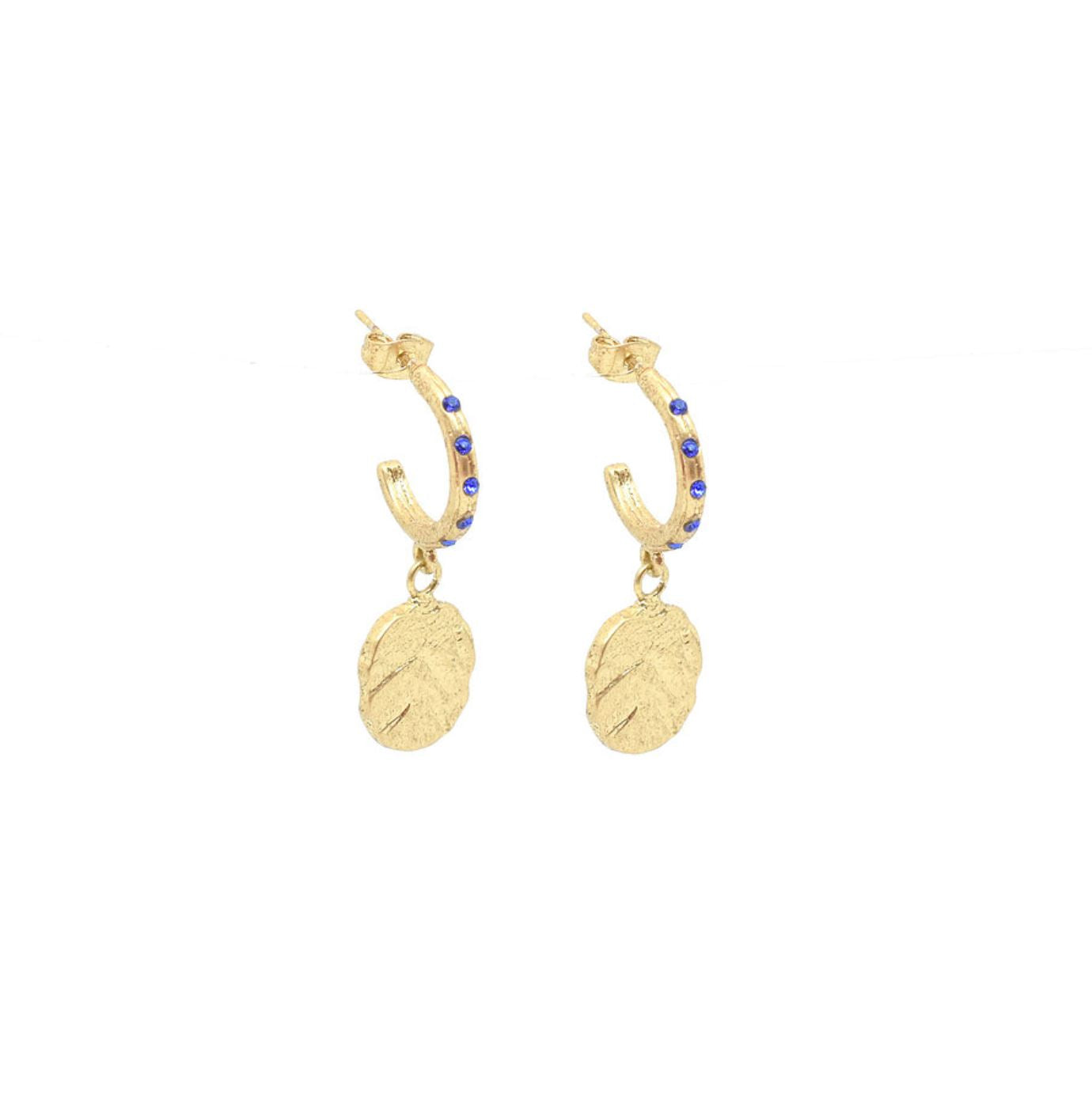 Odine Mini Crystal Hoops Gold