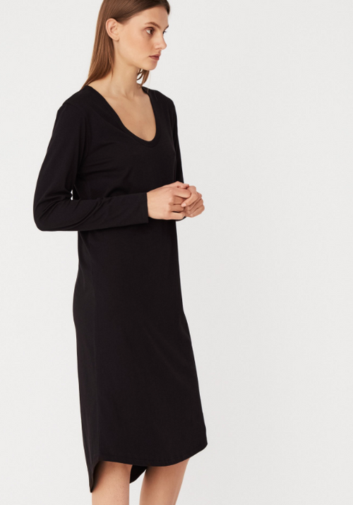 Soft V LS Dress Black