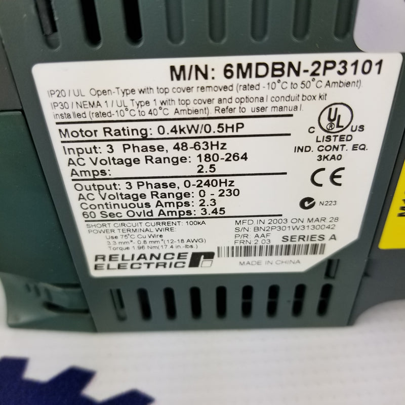 Reliance Electric MD60 6MDBN-2P3101 230VAC .5HP Drive