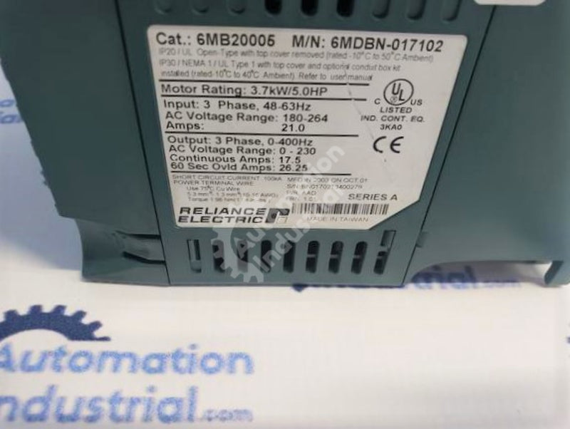 Reliance Electric MD65 6MDBN-017102 6MB20005 5HP 180-264VAC 21.0AMPS AC Drive