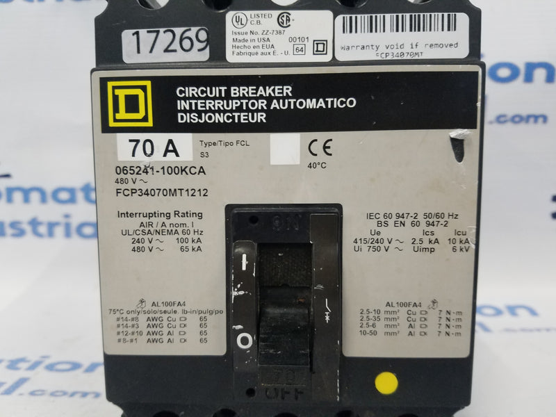 Square D FCP34070MT 70 Amp Circuit Breaker 3 Pole 480V  FCP34070MT1212