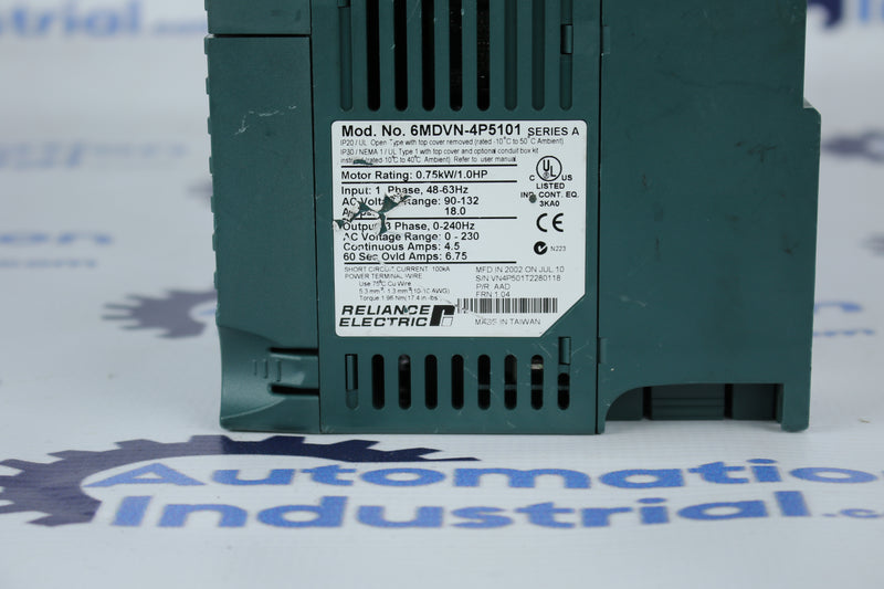 Reliance Electric MD60 6MDVN-4P5101 230VAC 1HP Drive