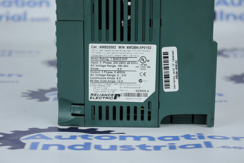 Reliance Electric MD65 6MDBN-8P0102 230VAC 2HP Drive 6MB20002