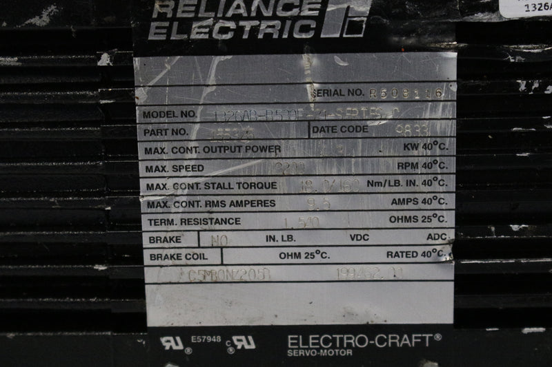 Reliance Electric 1326AB-B530F-21-SERTES Servo Motor