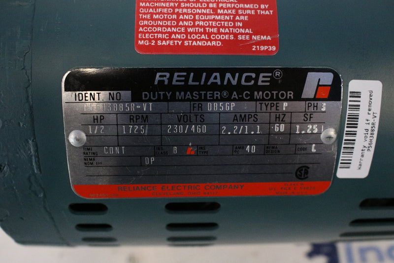 Reliance Electric P56H3885R-VT Type P 3Phase 1/2HP AC Motor