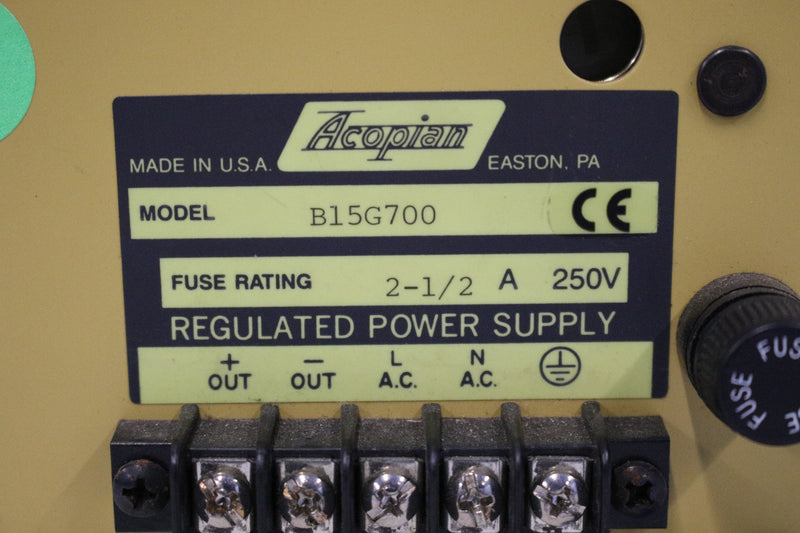 Acopian B15G700 Regulated Power Supply 250V