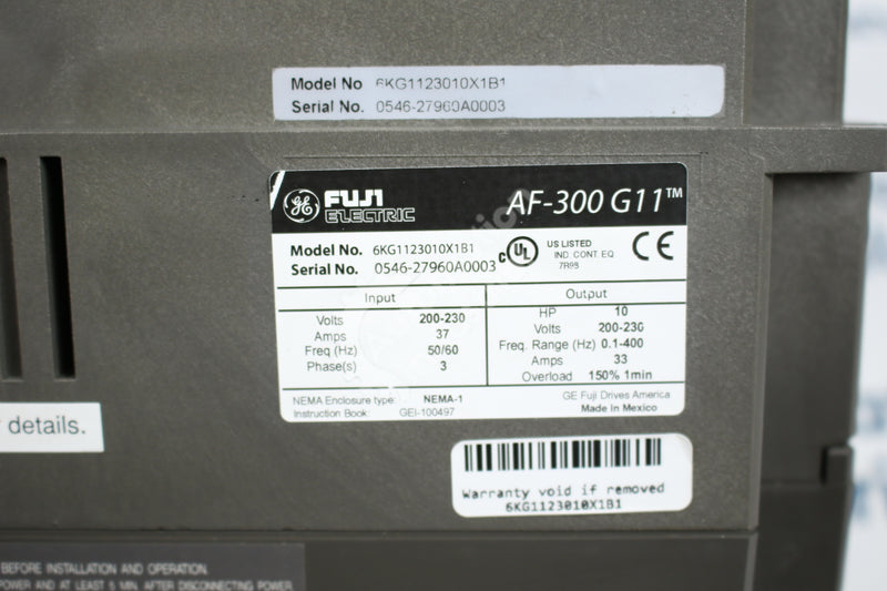 General Electric GE Fuji 6KG1123010X1B1 10HP AC Drive