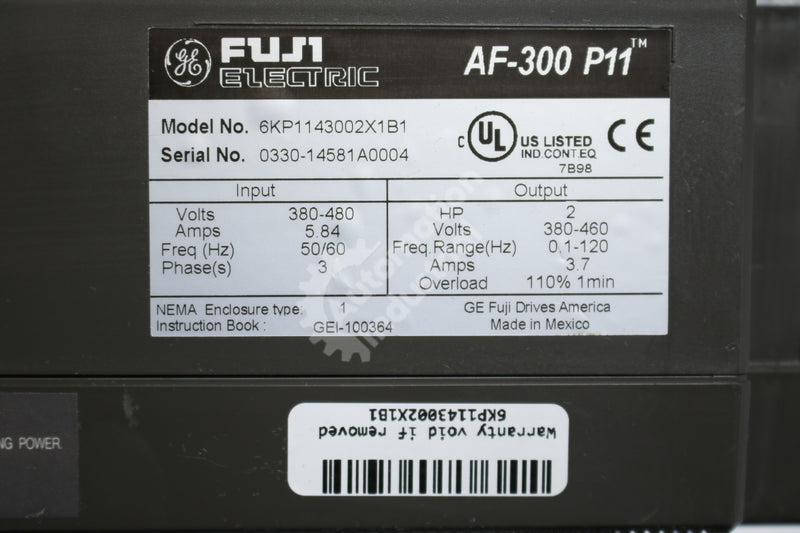 General Electric GE Fuji 6KP1143002X1B1 FRN1.5G11S-4 2HP Drive