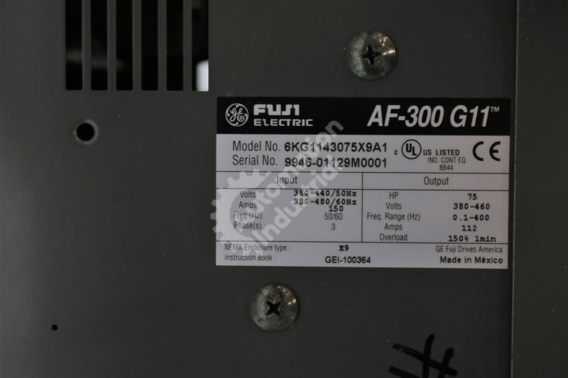 General Electric GE Fuji 6KG1143075X9A1 VFD 75HP 460VAC 3 Phase