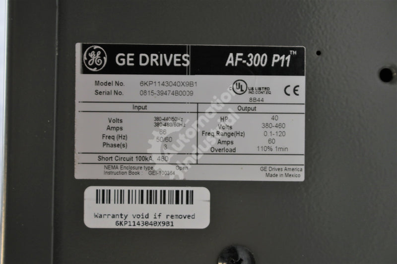General Electric GE Fuji 6KP1143040X9B1 40HP 460VAC 3 phase 50/60Hz