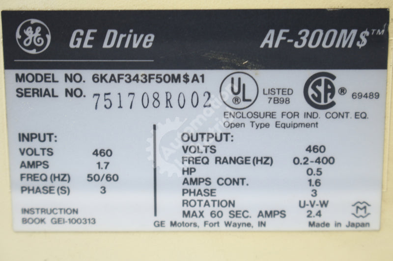 GE General Electric 6KAF343F50M$A1 .5 AC Drive Micro Saver