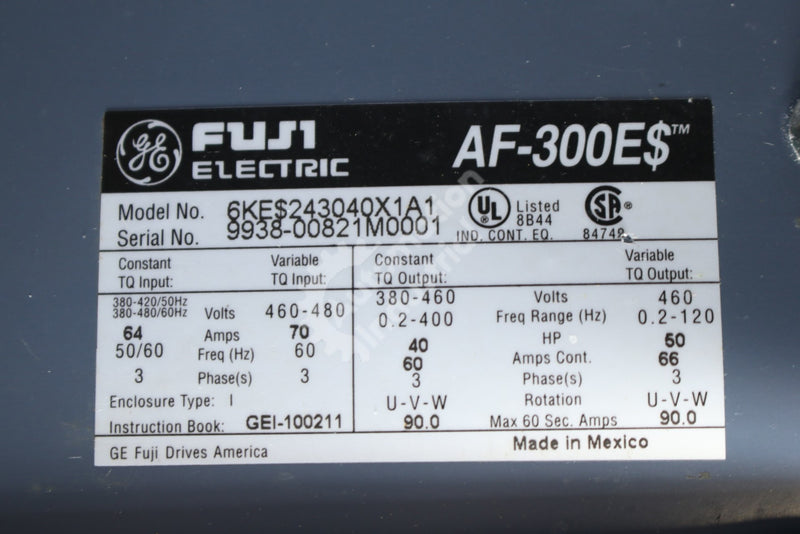 General Electric GE Fuji 6KE$243040X1A1 40HP Drive