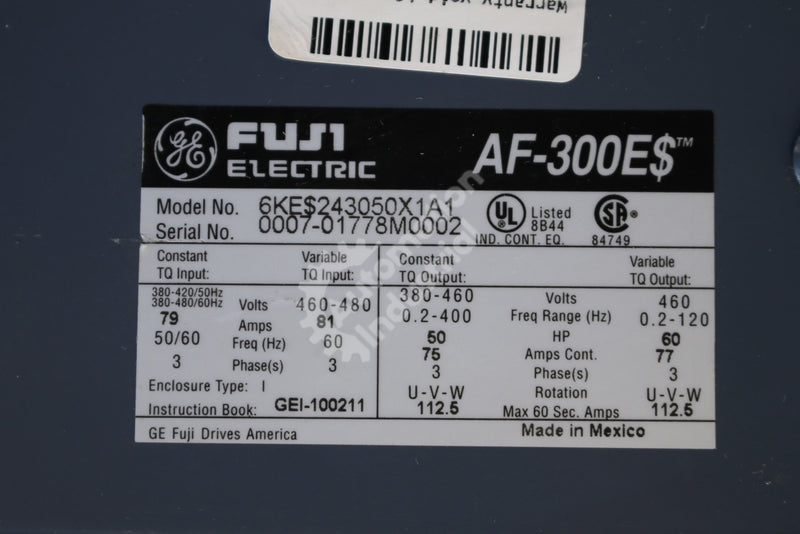 General Electric GE Fuji 6KE$243050X1A1 6KES243050X1A1 50HP Drive