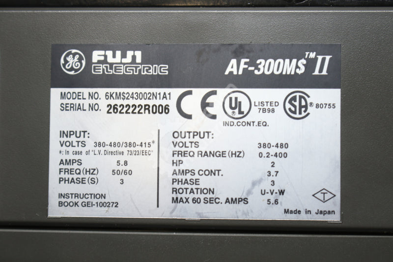 General Electric GE Fuji 6KM$243002N1A1 2HP Drive