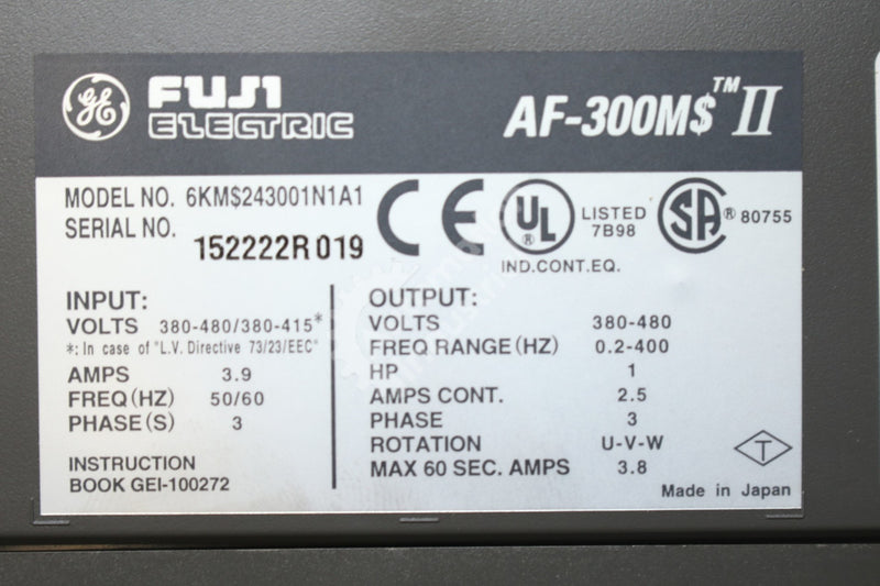 General Electric GE Fuji 6KM$243001N1A1 6KMS243001N1A1 1HP AC Drive