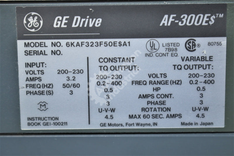 GE General Electric 6KAF323F50E$A1 6KAF323F50ESA1 .5HP Drive