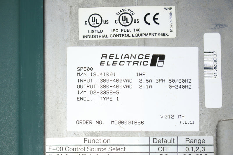 Reliance Electric 1SU41001 SP500 0.25-1.0 HP 3Phase AC Drive