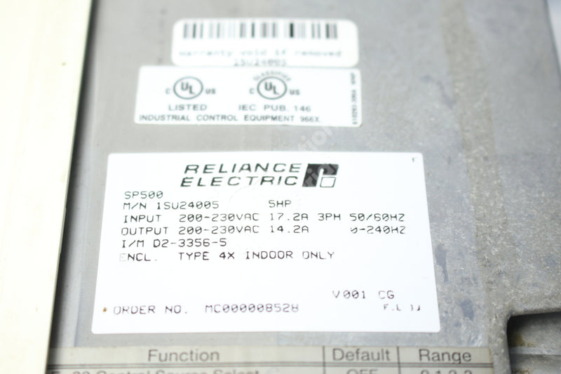 Reliance Electric 1SU24005 SP500 5HP 3 Phase AC Drive