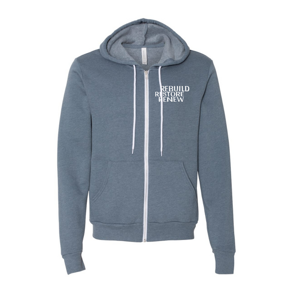 Rebuild Restore Renew- Heather Slate Unisex Sponge Fleece Full-Zip Hoodie