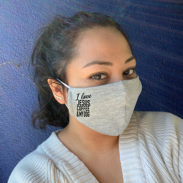 I love... (Jez Edition)- Grey Double Layer Mask
