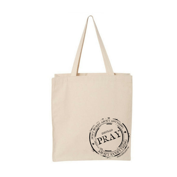 Instead Pray-Jumbo Canvas Shopper Tote