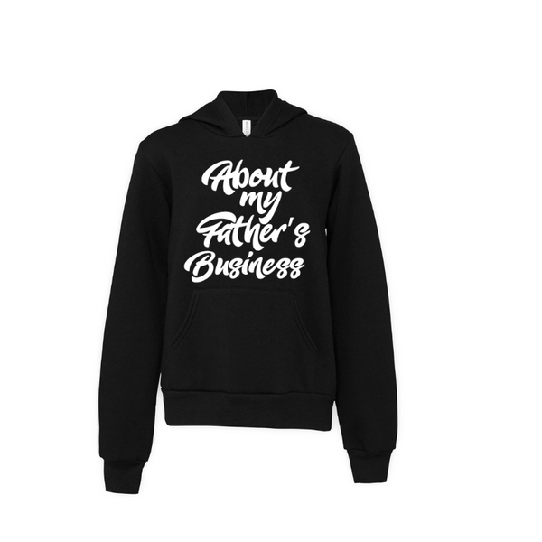 About my Father's...- Black Youth Sponge Fleece Hoodie