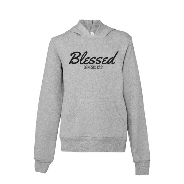 Blessed- Athletic Heather Youth Sponge Fleece Hoodie