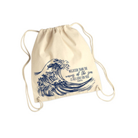 Waves- Cotton Canvas Drawstring Backpack