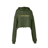 Overcomer-Women's Cropped Fleece Hoodie-Military Green