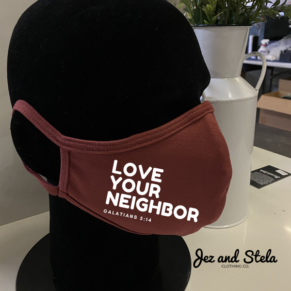 Love your Neighbor- Red Mauve Double Layer Mask