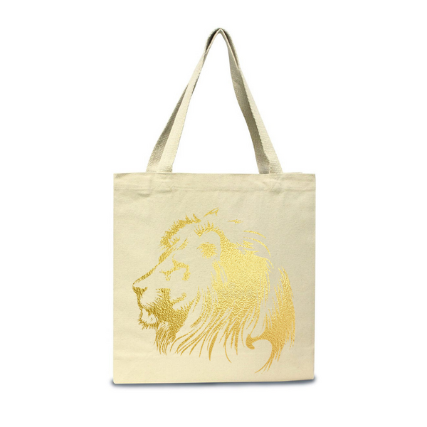Lion of Judah-Natural Jumbo Canvas Shopper Tote