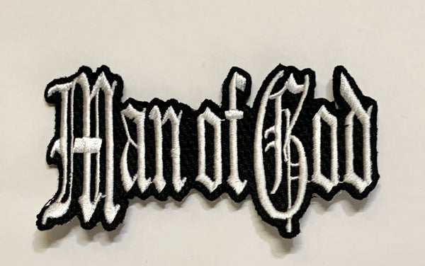 Man of God- White Embroidered Patch