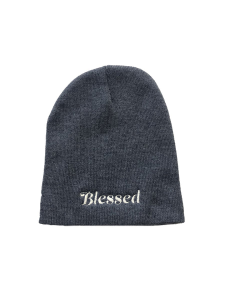 "Blessed- Heather Navy 8"" Knit Beanie"